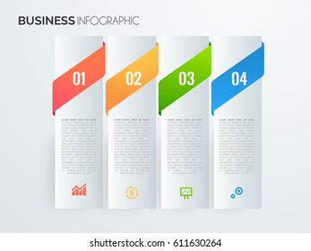 Modern infographics options template with paper sheets, icons for 4 options. Vector. ep10