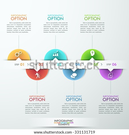 Modern Infographics Process Template With Circle Sheets Icons And Text For 6 Steps Vector
