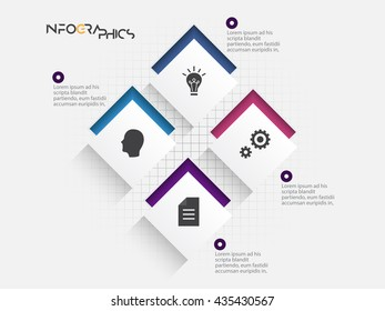 Modern infographics process template with connected paper rectangle sheets, icons and text for 8 steps. Vector. Can be used for web design, timeline and workflow layout eps10.