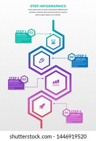 Modern infographics process template with paper sheets, polygons with rounded corners, icons and text for four steps. Vector. Can be used for web design, timeline and workflow layout