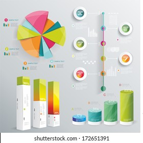 Modern infographics set. Diagram and Time Line design. Vector