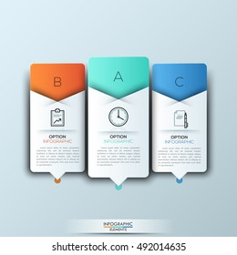 Modern infographics template with futuristic paper shapes and icons for 3 features. Vector. Can be used for workflow layout, diagram, number options, step up options, web design.