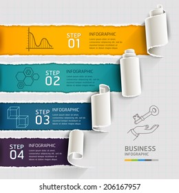 Modern infographics template torn paper style. Vector illustration. can be used for workflow layout, diagram, number options, step up options, banner, web design