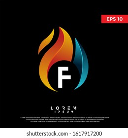 modern initial letter f fire logo. simple icon, template design