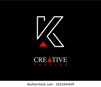 Modern initial letter K logo line with small red triangle