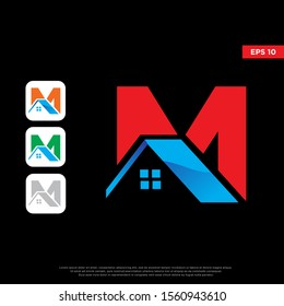 modern initial letter m real estate logo. simple icon template design