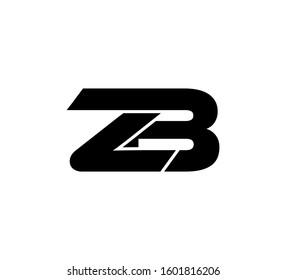 Modern Initial logo 2 letters black vector ZB