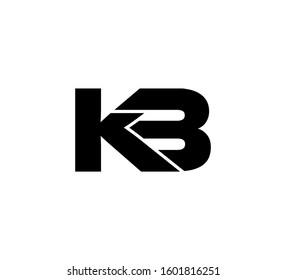 Modern Initial logo 2 letters black vector KB