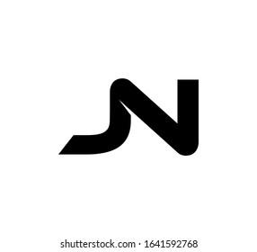 Modern Initial logo 2 letters black simple JN