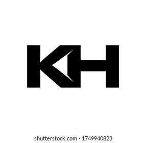 Modern Initial logo 2 letters black simple KH