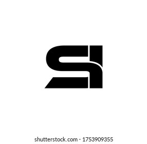 Modern Initial logo 2 letters black simple SI