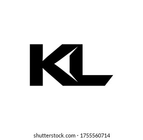 Modern Initial logo 2 letters black simple KL