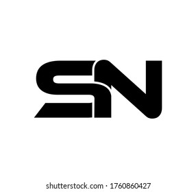 Modern Initial logo 2 letters black simple SN