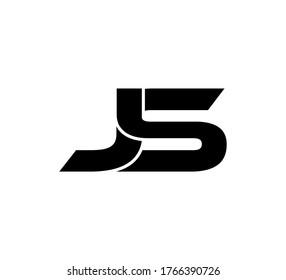 Modern Initial logo 2 letters black simple JS