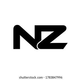 Modern Initial logo 2 letters black simple NZ