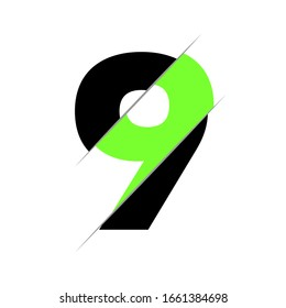 modern initial number 9 cut style logo. simple icon, template design