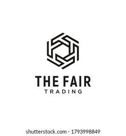 Modern Initial T F, Monogram TF FT with hexagon Line shape futuristic logo design
