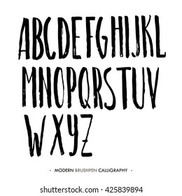 Modern ink Alphabet font. ABC painted letters with brush in modern calligraphy style. Capital letters.