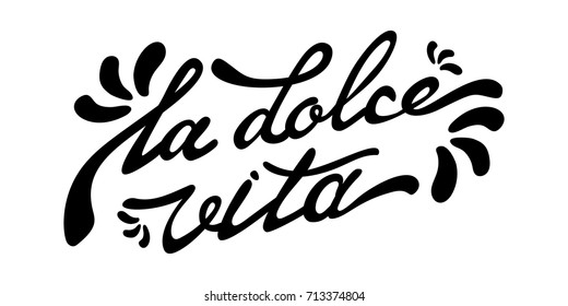 modern inscription sweet life in italian with patterns