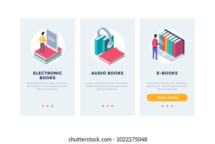 Modern interface for e-books. UI, UX and GUI Screens. Template for smartphone or Mobile Apps. Electronic or audio books. Isometric design.