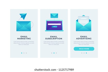 Modern interface for e-mailing. Template for smartphone or Mobile Apps. Mail envelopes and open laptop on blue background. Modern interface UI, UX and GUI Screens. Flat vector illustration.