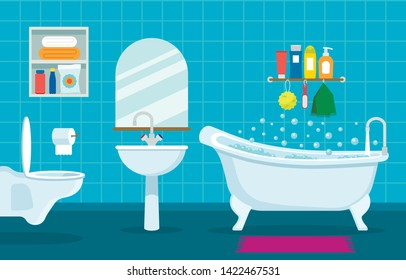 modern interior of bathroom and toilet. Hanging toilet, sink and bathroom with shower symbols of cleanliness and relaxation. flat vector illustration