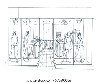 Modern interior boutique, shopping center, mall with clothes. Contour sketch illustration.