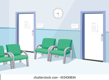 Modern Interior at the doctor. Waiting room in the hospital. Private medical practice. Vector simple illustration.