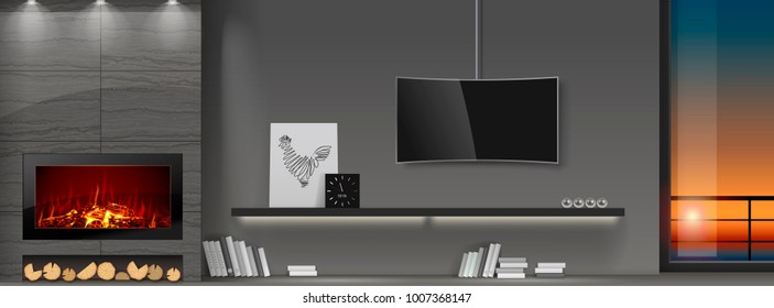 Modern interior with fireplace. A shelf of books and a TV. Panoramic window with the sunset. Vector graphics. Doodle or a banner.