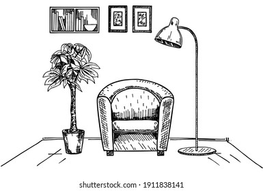 Modern interior hand drawing vector. Hand drawn a soft armchair. Nearby is a floor lamp. Sketch of living room. Hand drawn furniture. Vector Illustration of furniture interior room, living apartment