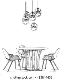 Modern interior hand drawing vector.