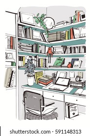 Modern Interior Home Library Bookshelves Workplace Hand Drawn Colorful Sketch Illustration