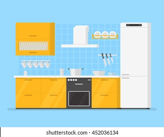 modern interior kitchen room in yellow tones. Kitchen utensils and appliances in the background tiles. Casserole dish cups and knives. Flat isolated cartoon illustration.