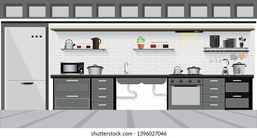 Modern Interior kitchen with kitchen shelves and cooking utensils, equipment on counter in tiles patterned background, vector illustration.