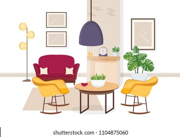 Modern interior of living room with comfy furniture and trendy home decorations - sofa, armchairs, carpet, coffee table, house plants, floor lamp, fireplace. Flat colorful vector illustration