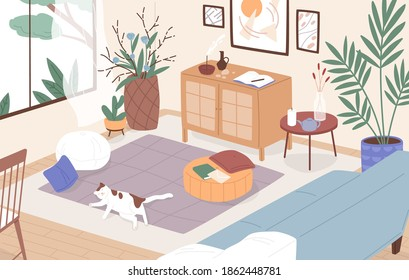 Modern interior of living room. Cosy furnished apartment. Sleeping cat on the floor. Comfy flat with sofa, coffee table, houseplants growing in pots and home decorations. Flat vector illustration