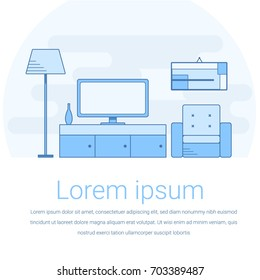 Modern interior of living room with furniture and TV. Line vector illustration in flat style