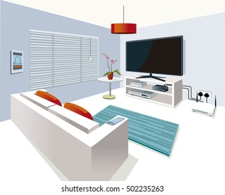 Modern interior Living Room  in a home with smart control, with technological equipment.