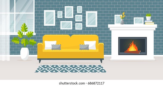 Modern interior of the living room. Vector banner. Design of a cozy room with sofa, fireplace, carpet, window and decor accessories.
