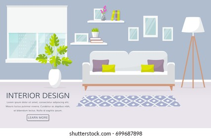 Modern interior of the living room. Vector banner with place for text. Design of a cozy room with sofa, window, lamp and decor accessories.