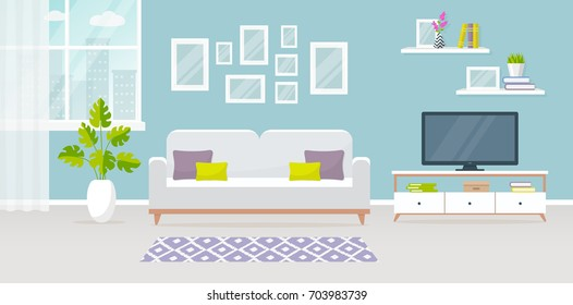 Modern interior of the living room. Vector banner. Design of a cozy room with sofa, TV stand, window and decor accessories.