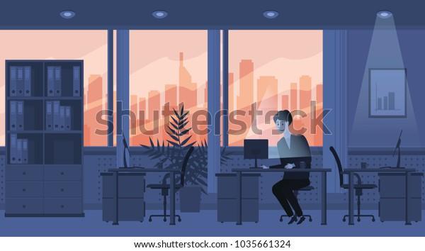 Modern Interior Office Sunset Character Employee Stock