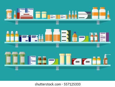 Modern interior pharmacy or drugstore. Medicine pills capsules bottles vitamins and tablets. vector illustration in flat style.