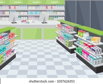 Modern interior pharmacy and drugstore. Sale of vitamins and medications. Funny cartoon flat vector simple illustration.