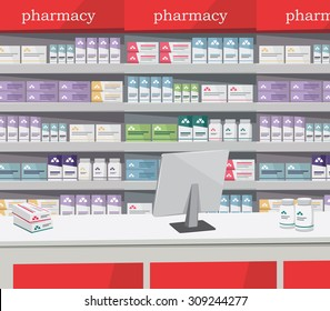 Modern interior pharmacy and drugstore. Sale of vitamins and medications. Red theme. Vector simple illustration.