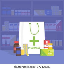 Modern interior pharmacy and drugstore. Sale of vitamins and medications. Vector simple illustration. Sale and discount template. Set of pills and drugs.