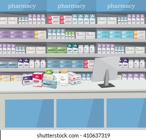 Modern interior pharmacy and drugstore. Sale of vitamins and medications. Cartoon vector simple illustration.