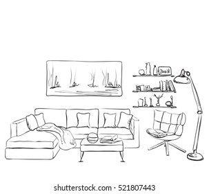 Modern interior room sketch. S