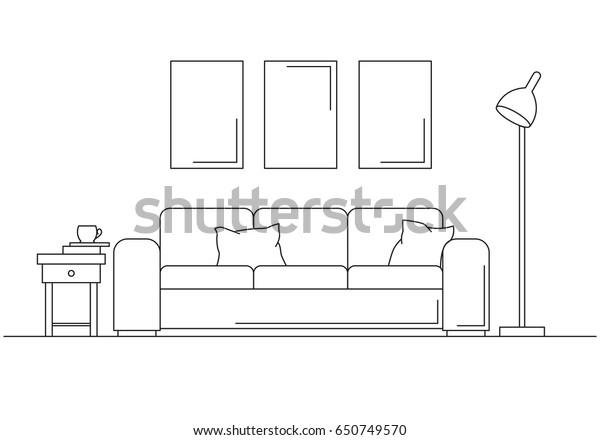 Image Vectorielle De Stock De Moderne Lampadaire Et Table De