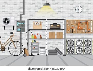 Modern interior storage room with metal shelf, storage box on the wall, flat design vector illustration.